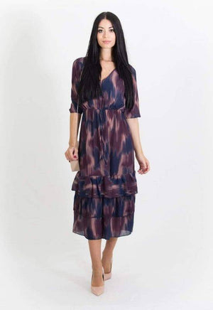 Kate & Pippa Midi Dress in Purple and Navy Print