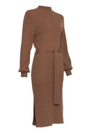 Moss Copenhagen Brown Dress with Tie Belt
