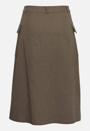 Moss Copenhagen Skirt with Side Pockets & Front Buttons