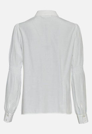 Moss Copenhagen White Shirt with Smock Sleeve Detail