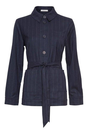 Moss Copenhagen Navy Jacket with Stripes