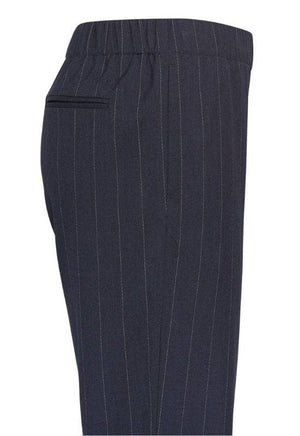 Moss Copenhagen Navy Trousers with Stripes