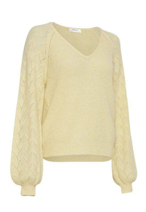 Moss Copenhagen Pale Yellow Puff Sleeves Knit