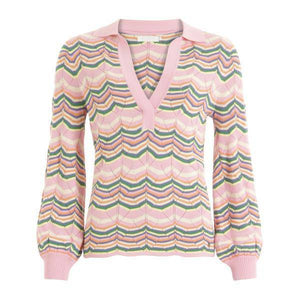 Coster Copenhagen pink knit sweater w. ribbed cuffs