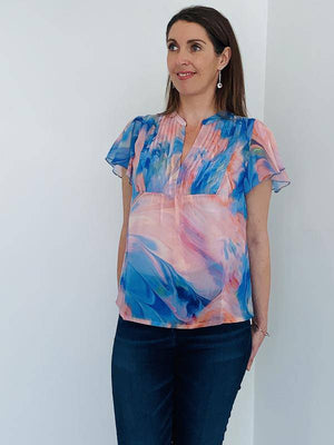 Coster Copenhagen colourful short-sleeved blouse in recycled polyester