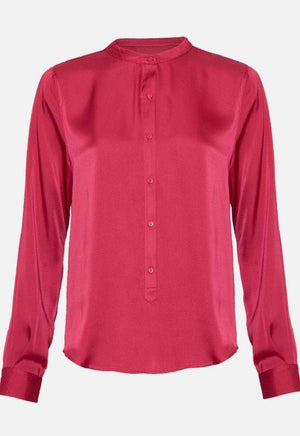 Moss Copenhagen Mandarin Collar Red Shirt