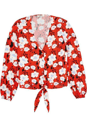 Garcia Red Blouse with Allover Print