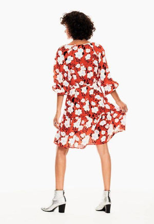 Garcia Red Dress with Allover Flowers Print