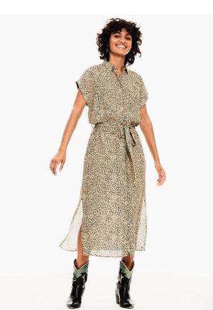 Garcia Tan Dress in Allover Leopard Print