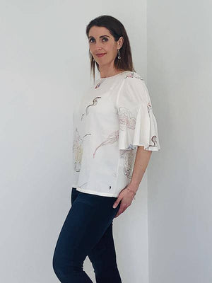Coster Copenhagen eco-friendly viscose blouse with frill sleeves and jellyfish print
