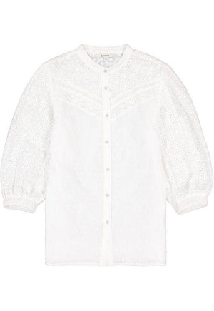 The Vicky - White Blouse with Embroidery Pattern