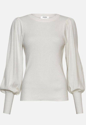 Moss Copenhagen White Pullover with Puff Sleeves