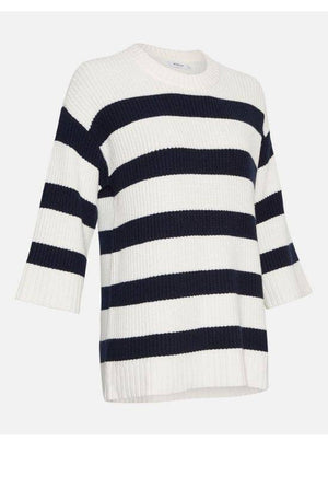 Moss Copenhagen White Striped Knit Pullover