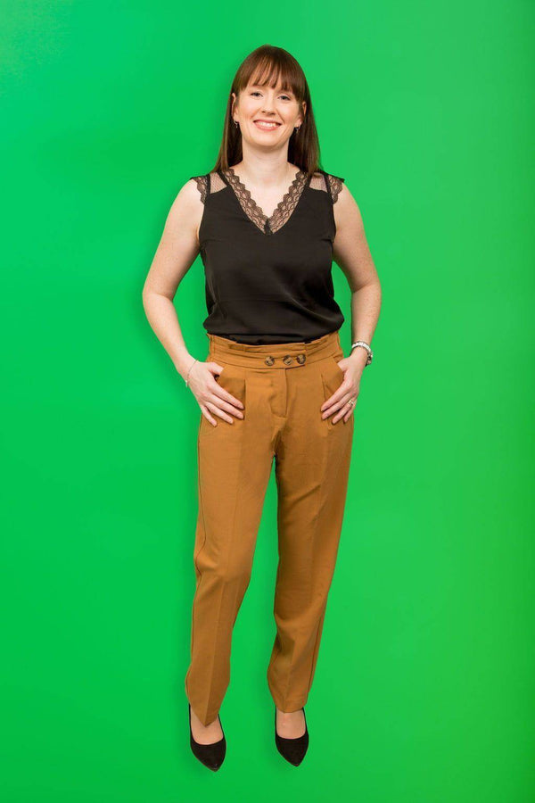 Grace & Mila Camel Brown Pleaded Trousers with Italian Pockets