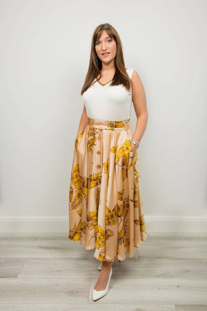 Access Fashion Gold Fern Pattern Skirt - Your Style Your Story