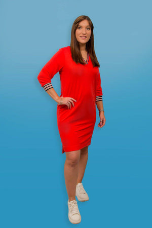 Red Garcia Dress with Striped Borders