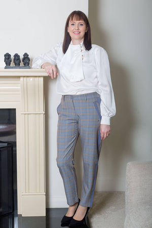 Coster Copenhagen Grey Trousers in Check with Pockets