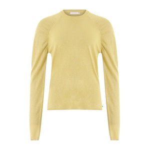 Coster Copenhagen yellow knit blouse in lurex with volume at shoulder