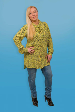 Yellow Garcia Tunic With Floral Design