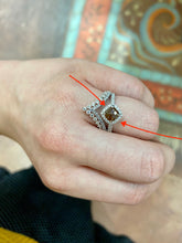 White Gold Cushion Cut Brown Diamond Engagement Ring