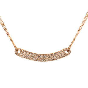 Mini Diamond Pave Curved Bar Necklace