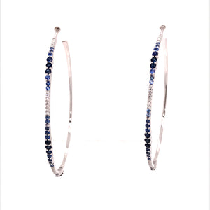 Large Diamond & Sapphire Ombre Oval Hoops