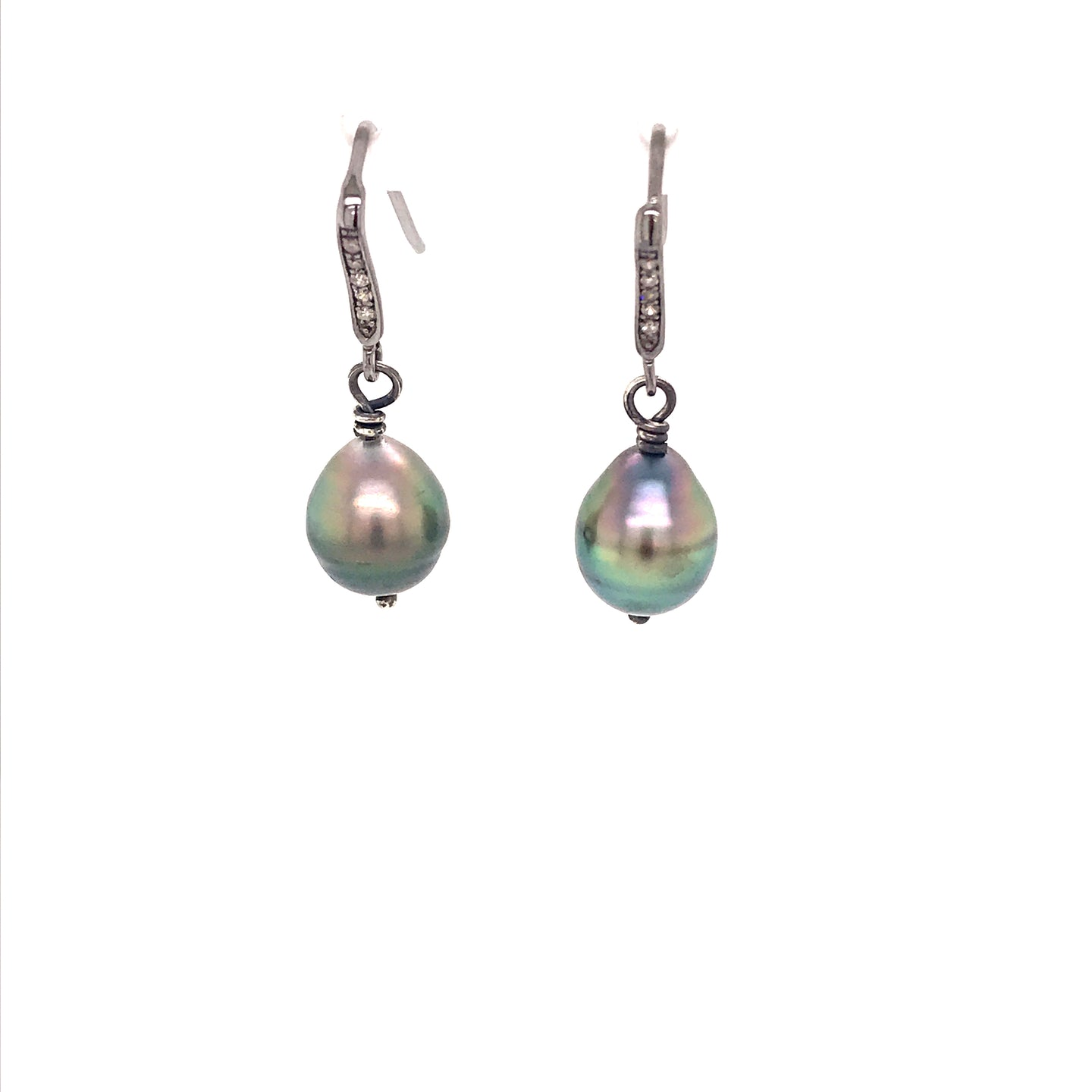 Sterling Silver Tahitian Pearl Lever Back Earrings