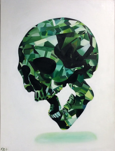 """Green Lady"" Skull Original Oil and Canvas Painting"