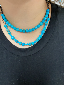 Turquoise Bead Necklace with Oxidized Paperclip Chain