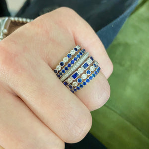 Alternating Sapphire Baguette Band