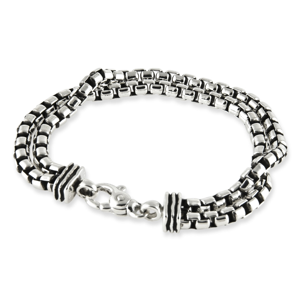 Mens - Waves Bracelet with Double Chain