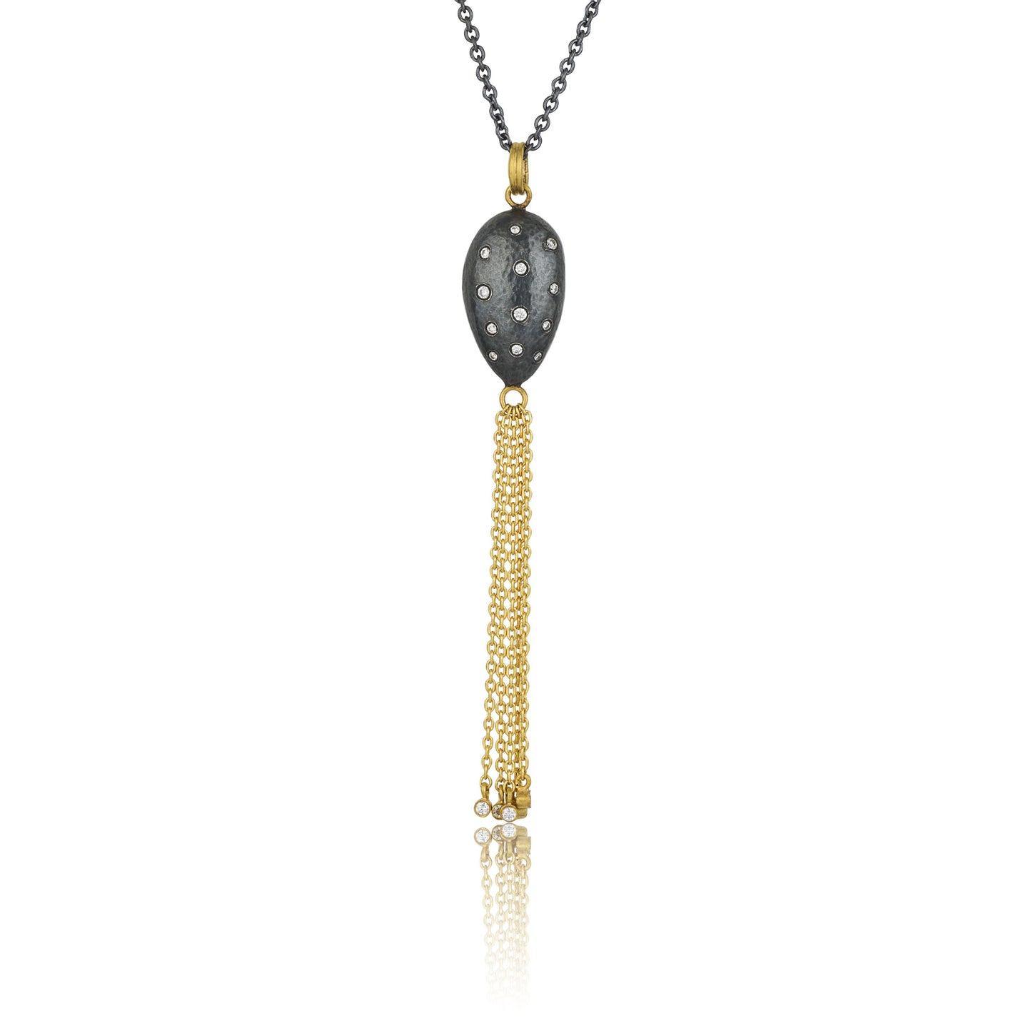 Lika Behar Almond Pendant with Diamond and Chain Accents