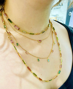 Baguette Tourmaline Dangle Necklace