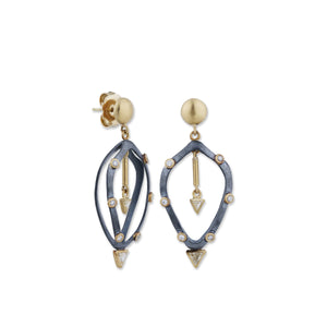 Lika Behar Two Tone Cage Diamond Dangle Earrings