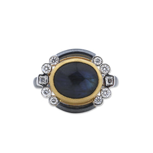 Lika Behar Labradorite Cocktail Ring with Side Diamonds