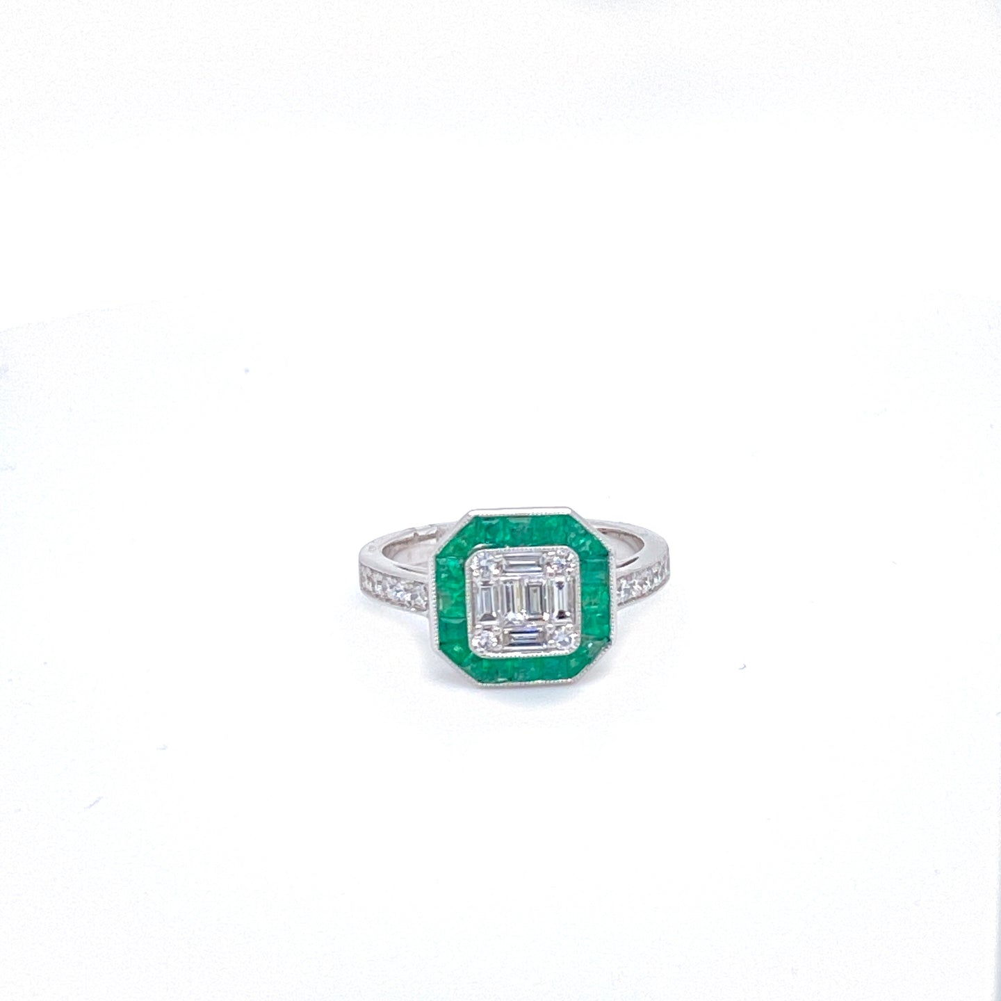 Art Deco Inspired Emerald & Diamond Ring