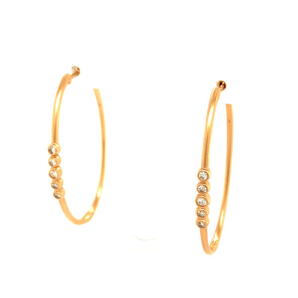 Matte Finish Oval Hoops with Diamonds