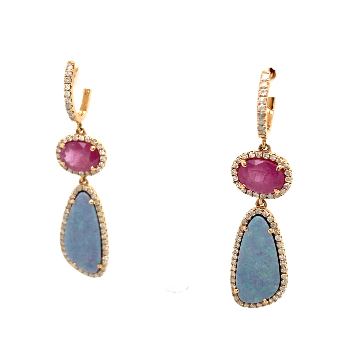 Opal & Ruby Dangle Earrings