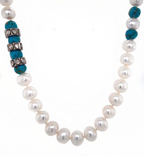Pearl Strand with Poki Diamond Rondelles & Turquoise Beads