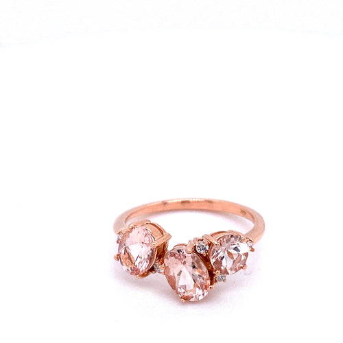 Oval & Round Morganite Ring
