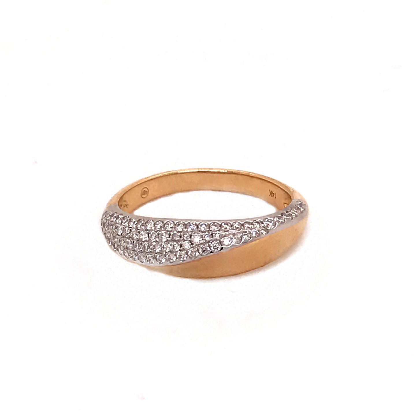 Two-Tone  Diamond Pave Wave Band