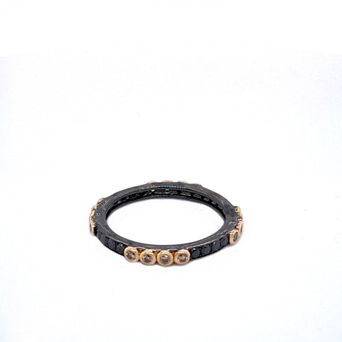 Two-Tone Black Rhodium Band with Black, Brown & White Diamonds