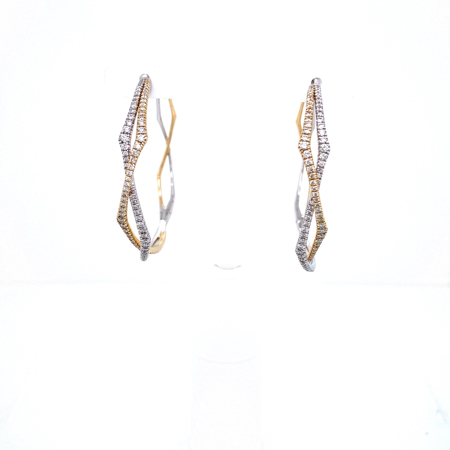 Two Tone Large Twist Diamond Hoops