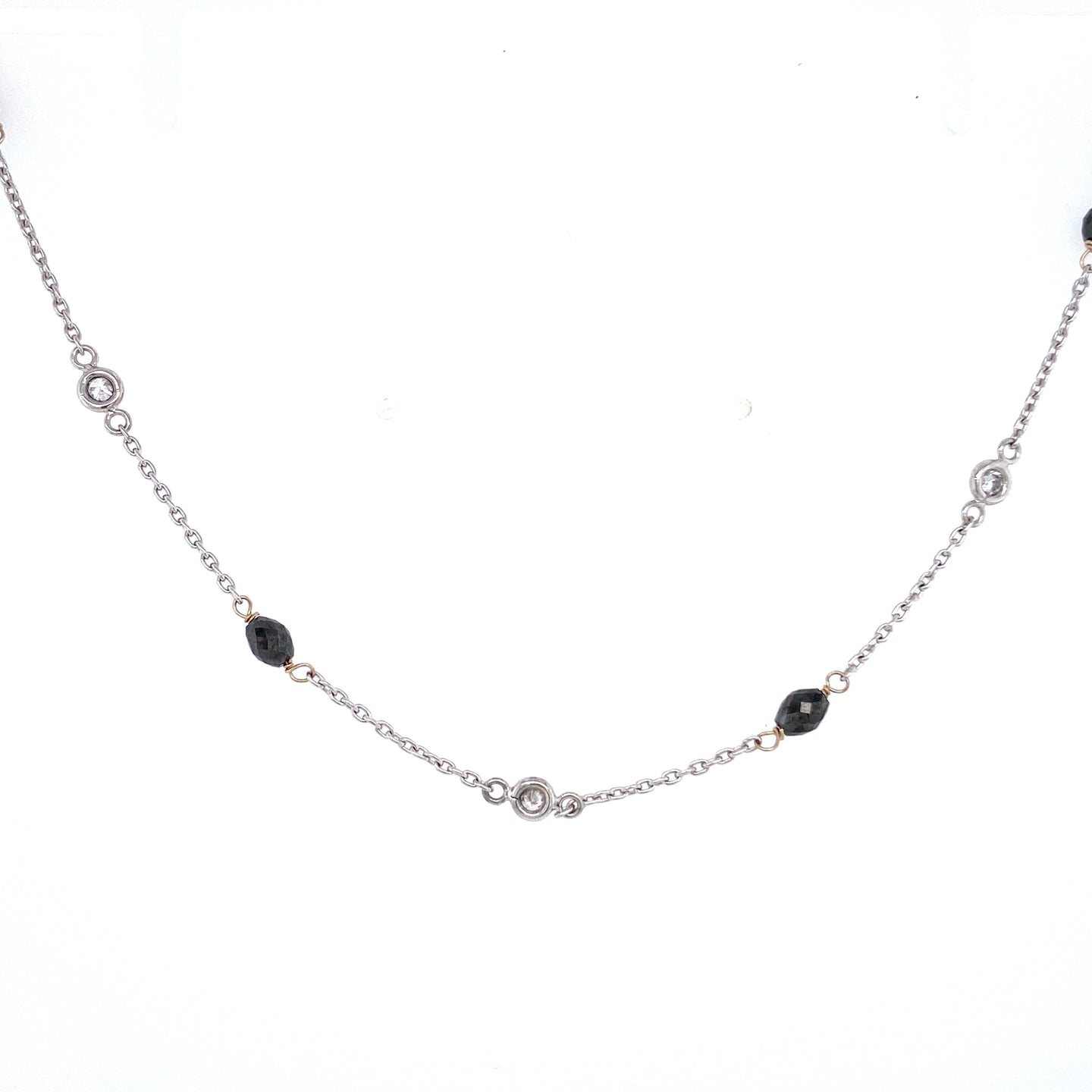 Black & White Diamond Station Necklace