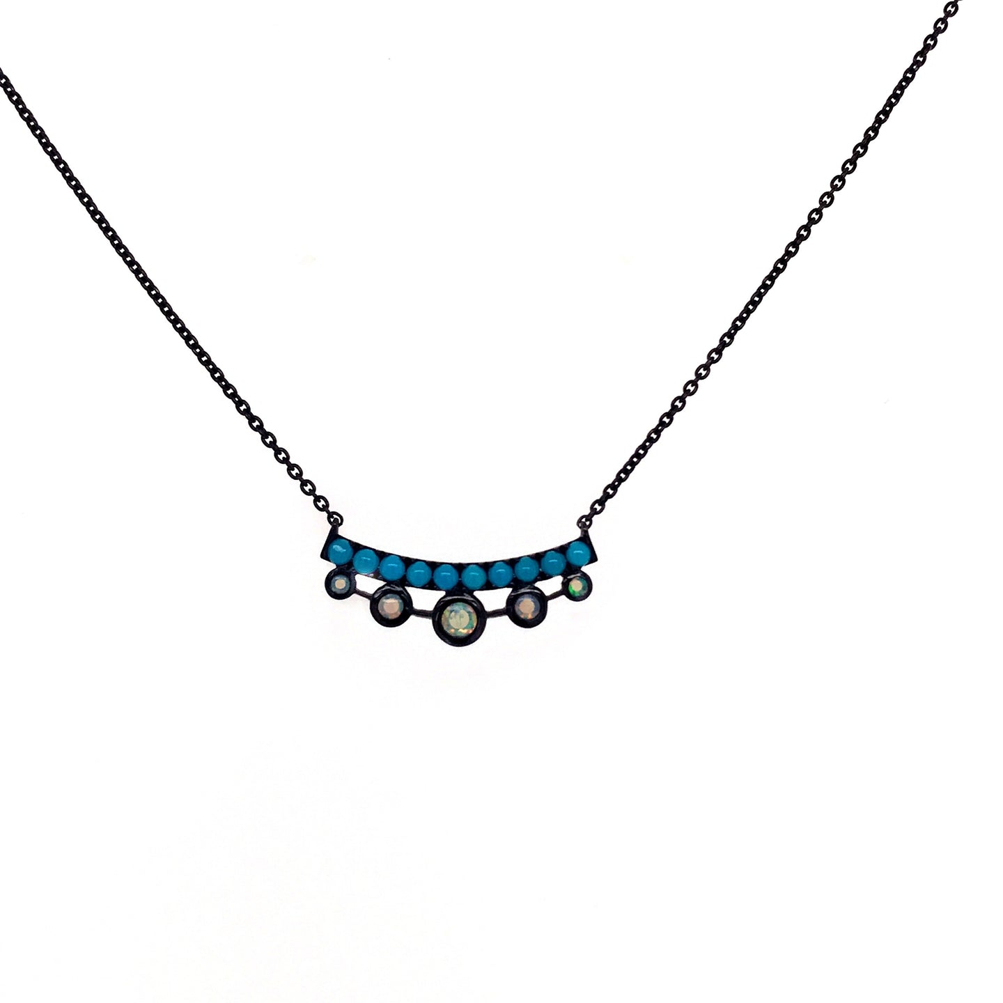 Mini Turquoise & Opal Black Rhodium Necklace