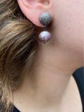 Pave Diamond & Lavender Pearl Earring