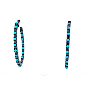 Black Diamond & Turquoise Oval Hoops