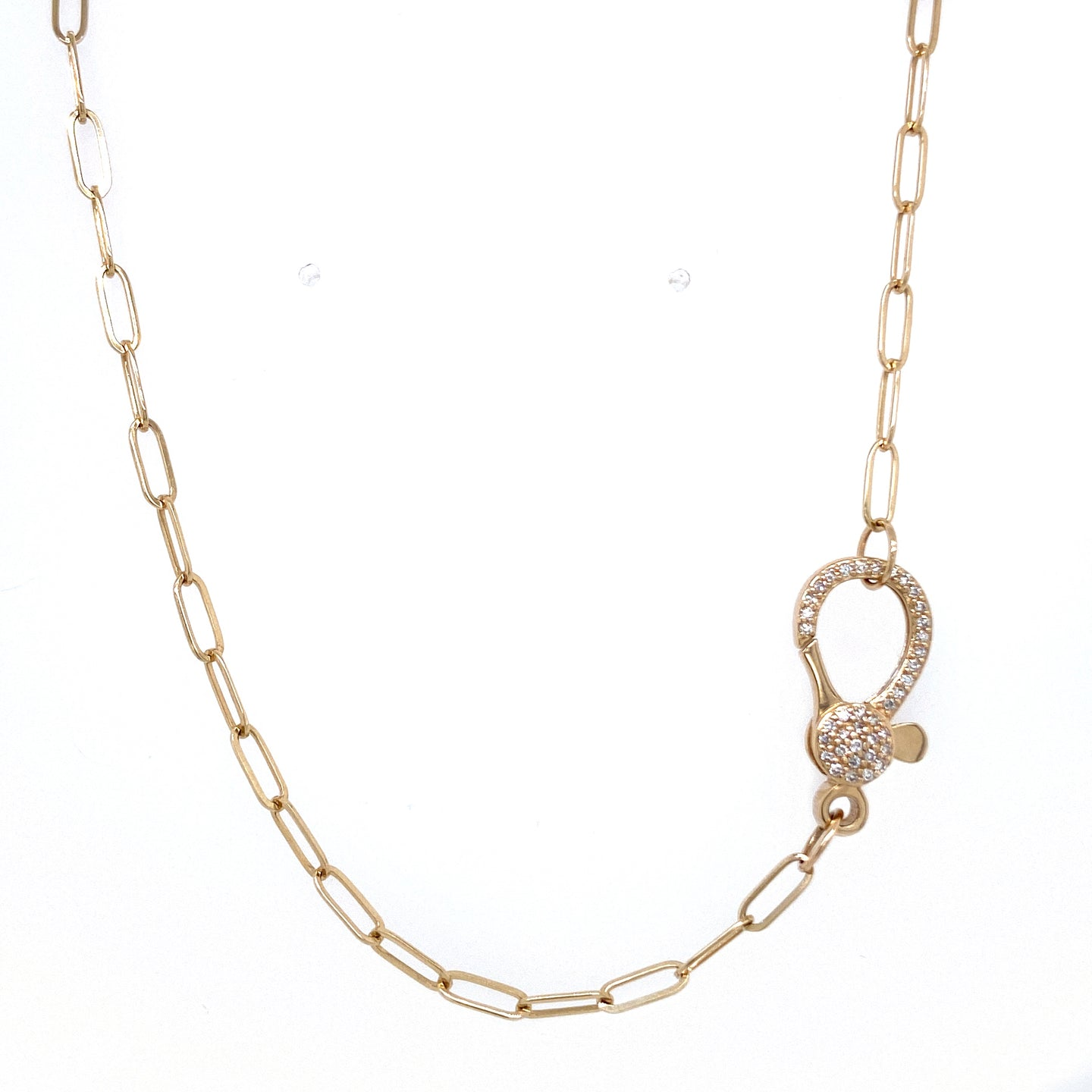 Paperclip Chain with Diamond Clasp