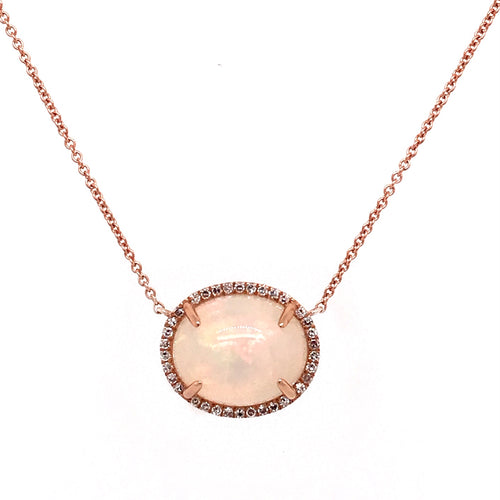 Opal and Diamond Rose Gold Necklace