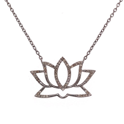 Lotus Necklace with Diamonds 14-18
